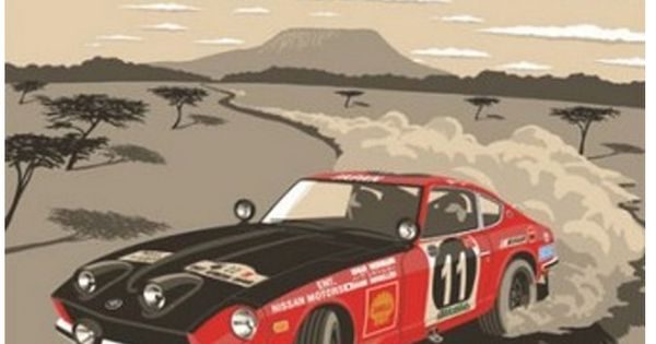 19th east african safari datsun 240z period style race posters based on real events with. Black Bedroom Furniture Sets. Home Design Ideas