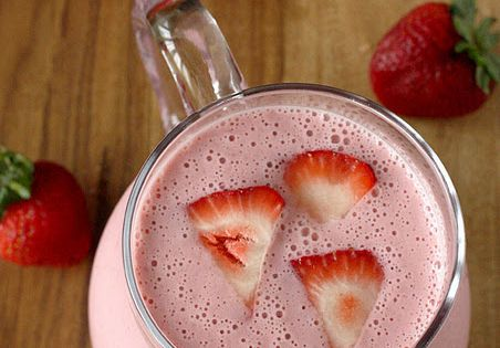 Strawberry Lassi - Just strawberries, honey, greek yogurt & crushed ice. Yum!