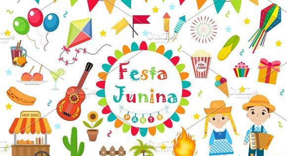 Festa Junina set icons, flat style. Brazilian Latin American festival, celebration of traditional symbols.