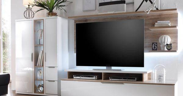 wohnwand salandra ii 3 teilig hochglanz wei eiche. Black Bedroom Furniture Sets. Home Design Ideas