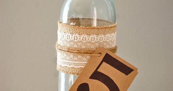 Rustic wedding table number, wine bottle table number, shabby chic wedding decor,