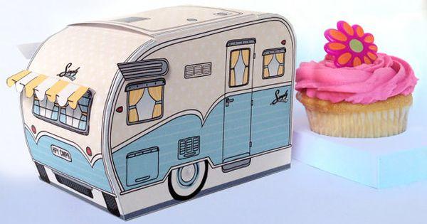 1950s Rv Camper Trailer Box Caravan Box Cupcake Box