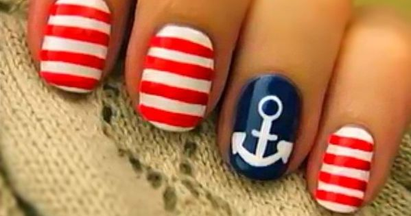 Nautical Nail Art Ideas. Loving the sailor nails