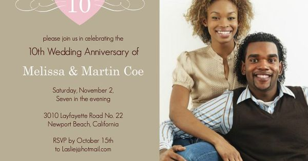 10th Wedding Anniversary Invitations: Pink Heart 10th Wedding Anniversary Invitation By