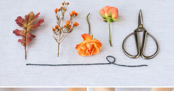 Adorable fall-inspired boutonniere DIY, complete with leaves! {By Jen Kirk via Project