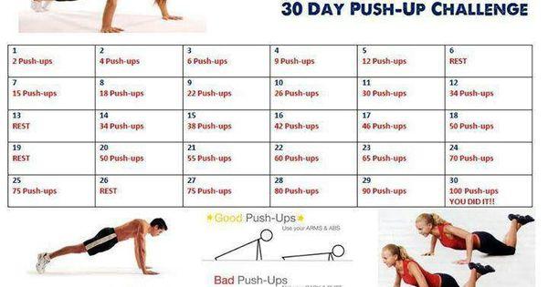 30 day push up challenge fitness pinterest. Black Bedroom Furniture Sets. Home Design Ideas