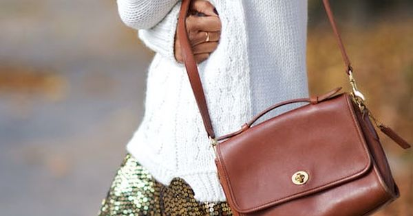 cozy sweater + sequined skirt