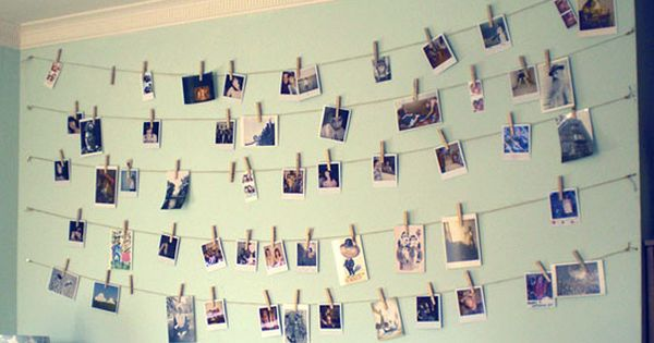 hang pictures with twine and clothespins - cute for a dorm room!