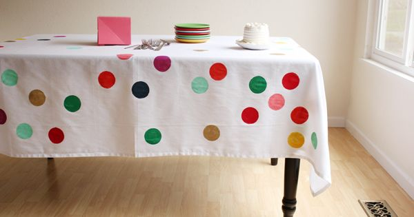DIY confetti tablecloth, Cute birthday party idea