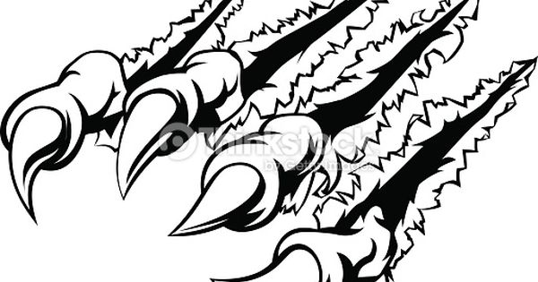 Monster Claw Ripping Tearing Or Scratching Through The Background Free Vector Graphics Illustration Pictures To Draw