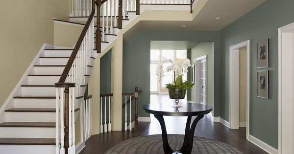 Benjamin Moore Paint Colors - Blue Entryway Ideas - Elegantly Inviting Entry