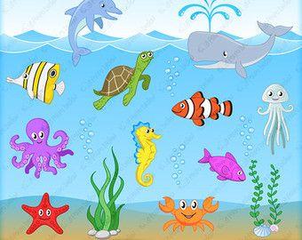 Sea Animal Clipart Sea Animal Clip Art Sea Creatures Fish Etsy In 2020 Animal Clipart Sea Creatures Clip Art
