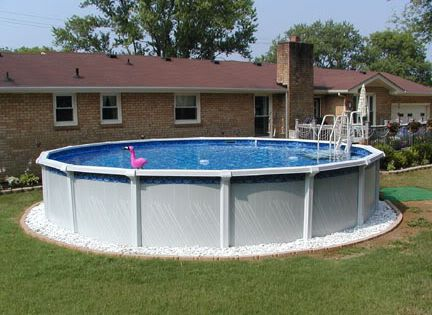 Above Ground Pool Edging Ideas landscape edging rubber mulch and potted plants around intex above ground swimming pool Edging And White Marble Chips Pool Pinterest We Marbles And Search