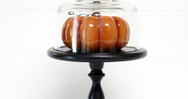 Cloche - Fall Pumpkin on a Black Pedestal Stand.