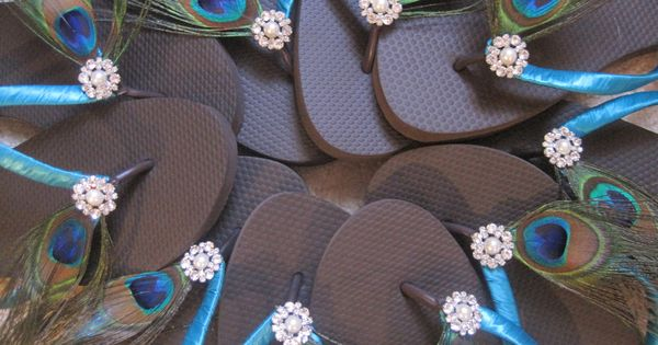 Gabriella Pearl and Rhinestone Peacock Feather Wedding Party Flip Flops