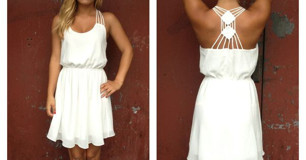 White Cocktail Dress - White Chiffon Double Diamond Strappy. Rehearsal dinner dress