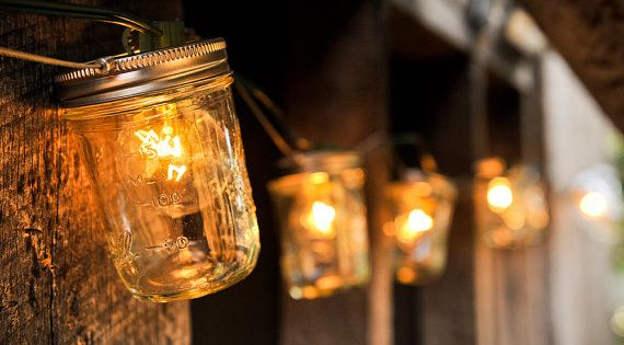 Mason jar light strand for the back porch.