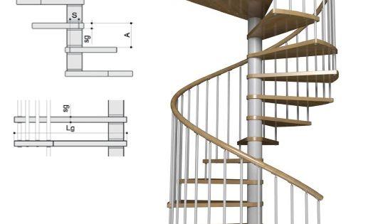 Escalera de caracol con pelda os de madera modelo de for Escaleras de caracol prefabricadas
