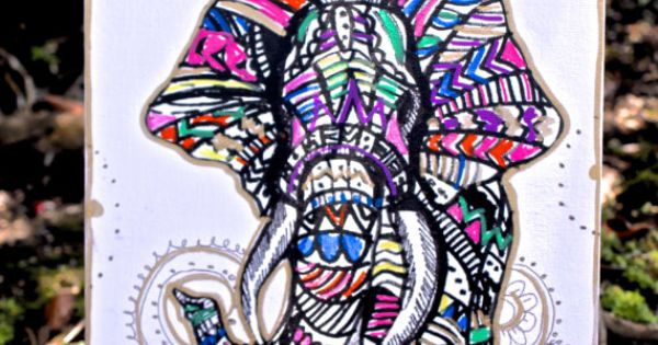 Elephant Wall Decor Colorful Tribal Elephant Mandal Background Canvas Wall Hanging
