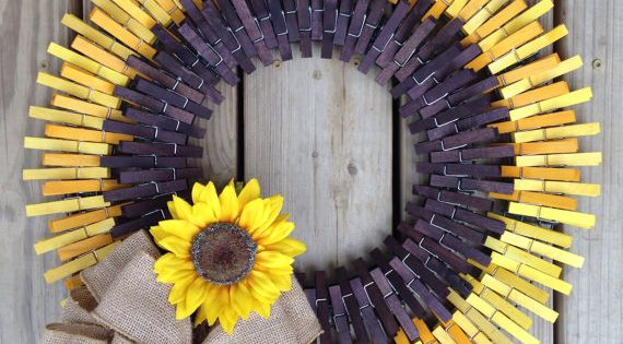 Sunflower Clothespin Wreath Things I Like Pinterest Sunflowers Wreaths And Craft