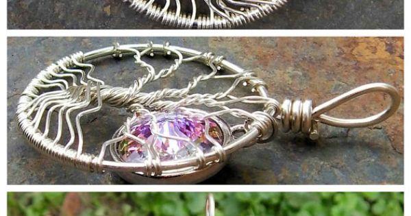 Mini Sterling Silver Tree of Life with Swarovski Crystal Moon by MadamVonTrinkets