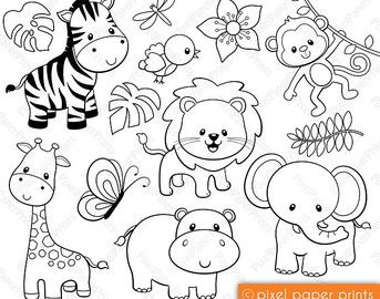 Jungle Friends Digital Stamps Clipart Digital Stamps Coloring Pages Clip Art