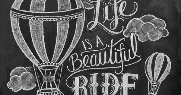 hot air balloon chalkboard art print