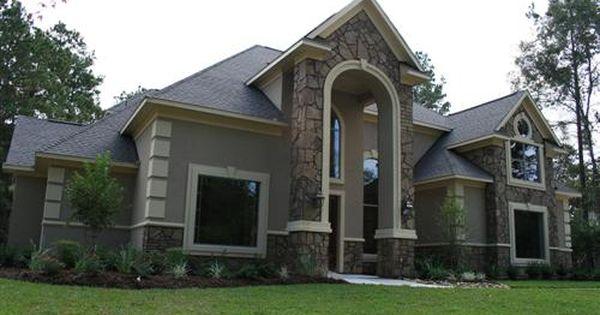Houston Custom Home Builder Lewis Custom Stucco Homes Stone Exterior Houses Stone Houses