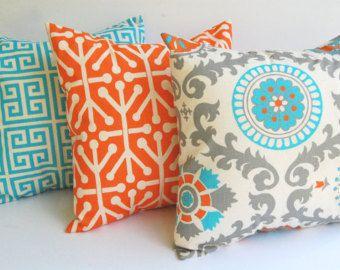 Mixing Patterns Throw Pillows Orange Pillows Living Room Orange Orange and blue outdoor pillows