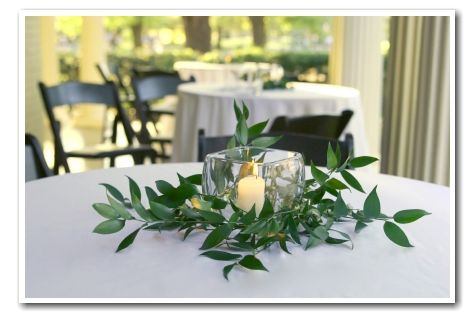 Place Greenery Around Frosted Glass Wedding Centerpieces Simple Centerpieces Cocktail Table Centerpieces