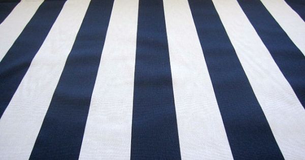 Decorator Fabric Navy Blue And White Stripe Fabric By