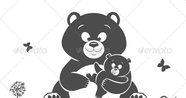 Bear Silhouette Hug Illustration Bear Silhouette And