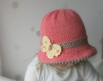 Knitting Pattern Brim Sun Hat Elis With A Knitted Flower X Etsy Modele Tricot Bebe Chapeaux Tricotes Pour Bebe Chapeau Tricote