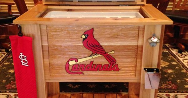 Custom Cedar Wood Cooler With Hand Carved Mlb St Louis