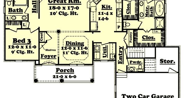 Southern Style House Plans 2000 Square Foot Home 1