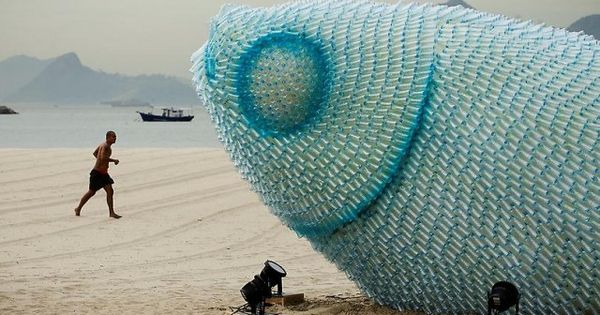 How many large fish sculptures could be created out of one days worth of world consumption of plastic water bottles? It would be much larger than a school of fish. In conjunction with the UN Conference of Sustainable Development (Rio+20) a number of illum...