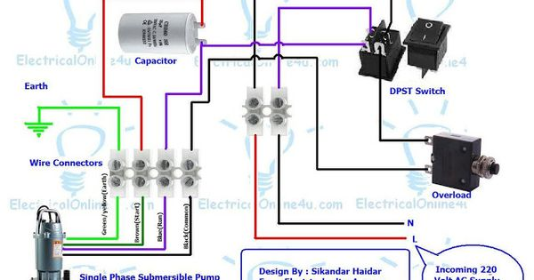 Single Phase 3 Wire Submersible Pump Control Box Wiring Diagram Submersible Pump Electrical Circuit Diagram Submersible