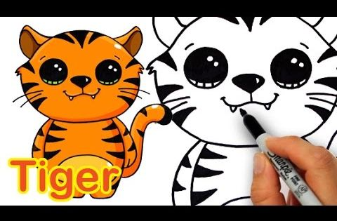 how to draw a cute cartoon tiger easy - Fun Easy Drawings For Kids