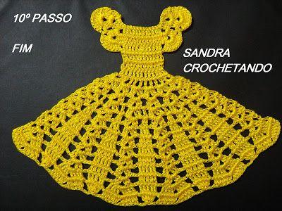 Pap Do Vestido De Croche Para Aplicar Nas Bonecas Pintadas Pela