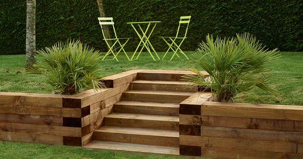 Traverses paysag res en bois utilisez les traverses for Idee amenagement jardin