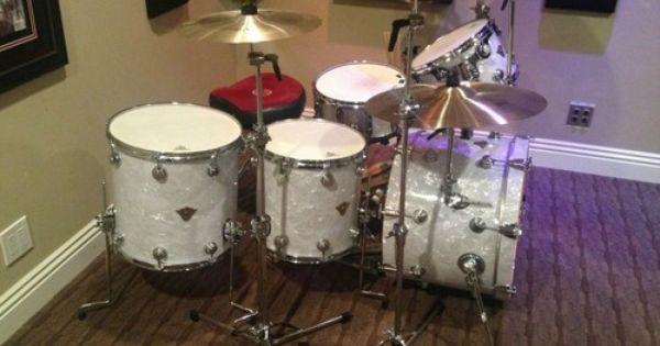 Dw Classics Series Drum Set 5 Piece Classic White Marine Pearl Drums Drum Set Classic White