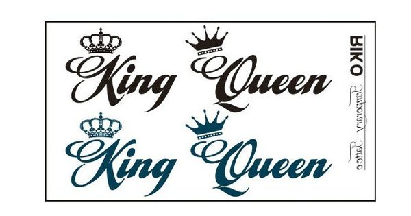 """King And Queen Tattoo Font: 4 Pcs """"Queen"""" """"King"""" Letters Crown Tattoo Stickers"""