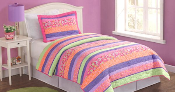 Pink Purple Lime Green Striped Girls Bedding Spring Floral Twin Quilt Set