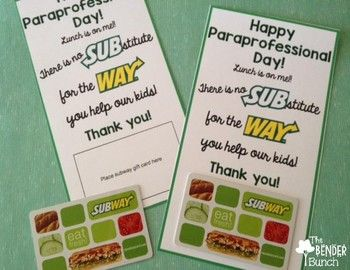 Staff Appreciation Subway Gift Cards Freebie With Images