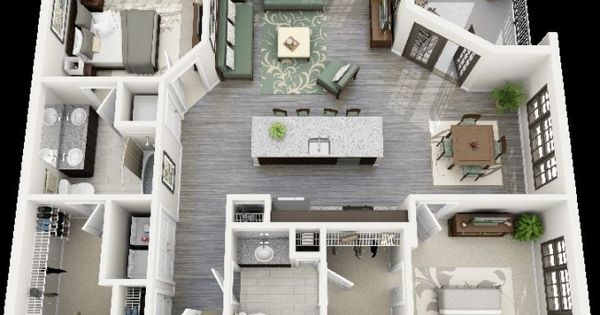 50 plans 3d d 39 appartement avec 2 chambres architecture tops and architecture plan - Lay outs huis idee ...