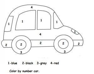 Color By Number Car Worksheet Transportation Preschool Cars