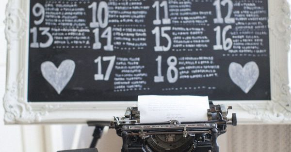 Chalkboard seating chart and the traditional type writer is there so guests