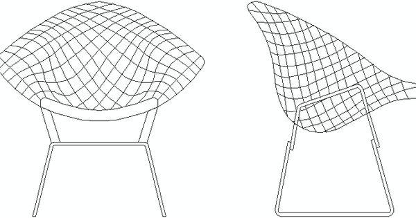 Silla diamond en alzado bloques autocad de sillas de for Taburete dwg