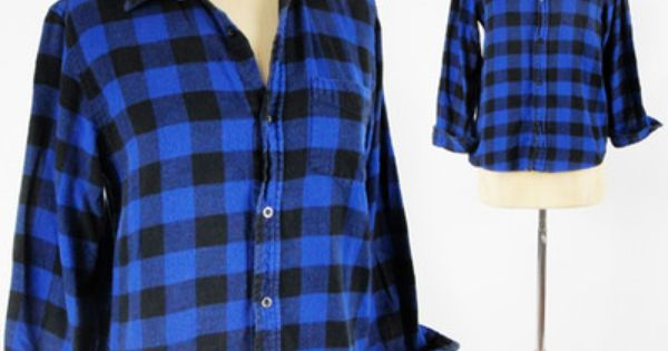 Vtg 80s 90s style blue black buffalo check plaid button up for Best flannel shirt brands