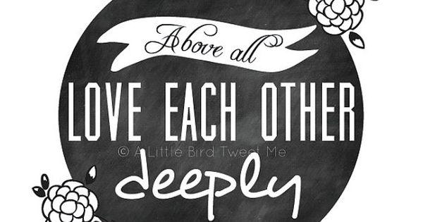 Christian Chalkboard Print. 1 Peter 4:8. Love Each Other